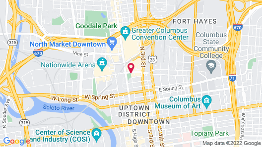 Crowne Plaza Hotel Downtown - Columbus, Ohio Map
