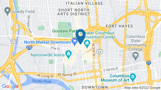 Hampton Inn & Suites Columbus Downtown Map
