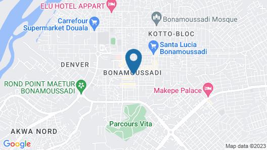 Elu Hotel Appart Bonamousadi et Logpom Douala Cameroun Map