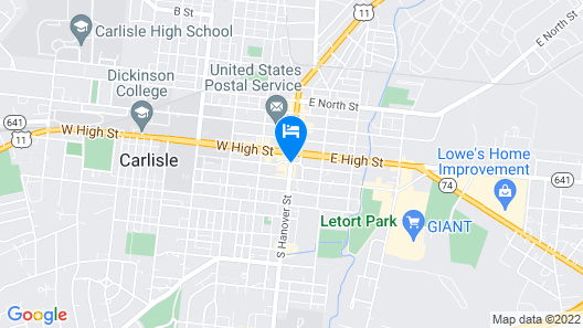 Comfort Suites Downtown Carlisle Map