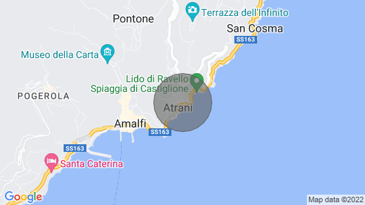 House for families with terrace and sea view, only 1km from the center of Amalfi Map