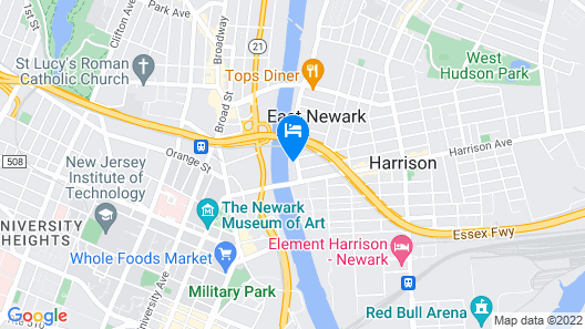 Hampton Inn & Suites Newark-Harrison-Riverwalk Map