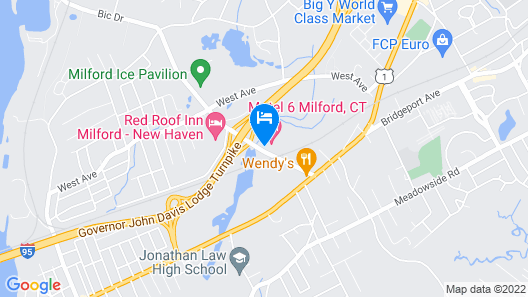 Motel 6 Milford, CT Map