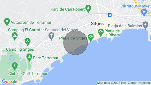 Luxury Sitges Villas Tupinetti 100 m from the beach. Renewed Comfortable. Yard. Map