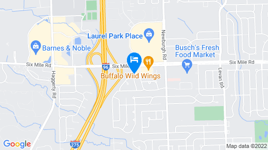 Best Western Detroit Livonia Map