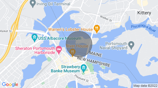 Houseboat Located in the Beautiful Kittery/ Portsmouth Harbor Map