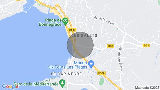 Six Fours, Studio, Terrace, 100 m Beach, Park, Close Shops Map