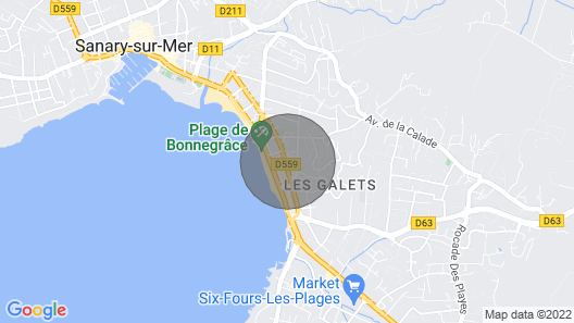 Super Beachfront Apartment Between Sanary and Six Fours les Plages Map