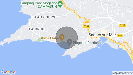 Apartment T3, 2 bedrooms for 4 people in villa 150 meters from the sea.  Map