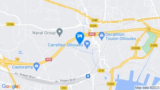 B&B Hotel Toulon Ollioules Map