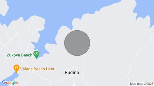 Villa 2 Mala Rudina, on the Island of Hvar Map