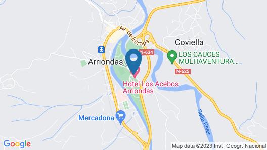 Hotel Acebos Arriondas Map