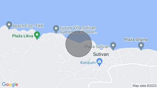Apartments Jerko - Sutivan - Island Brac Map