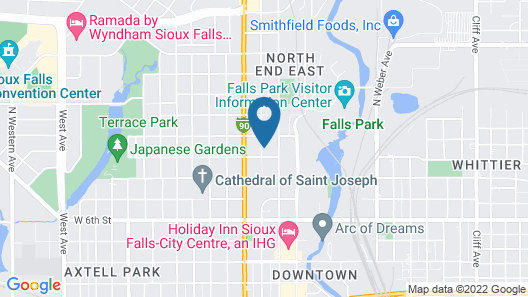 Falls Park Retreat, Just Steps From Downtown Sioux Falls! Map
