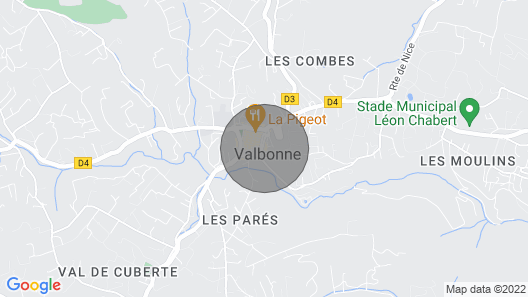 THE GARDEN OF THE VILLAGE IN VALBONNE (3 ***): live in-out Map