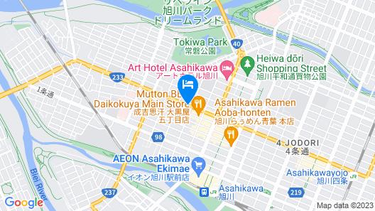 OYO Hotel The Green Asahikawa Map
