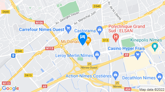 B&B Hotel Nimes Ville Active Map