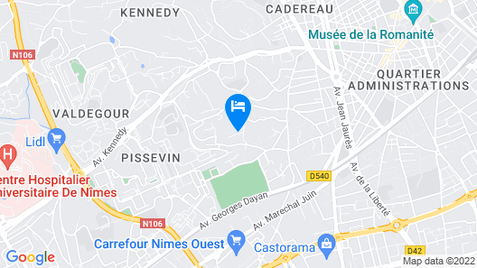 In the quiet wooded hill from downtown Nimes Map