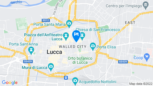 Apartment in the Historic Center of Lucca, for a Visit to the City Map