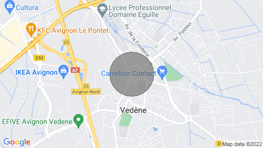 T2 Independant + Terrace; Vedene, Near Avignon Map
