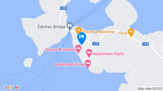 Villa Rava, on the Island of Pašman, with a Pool Map