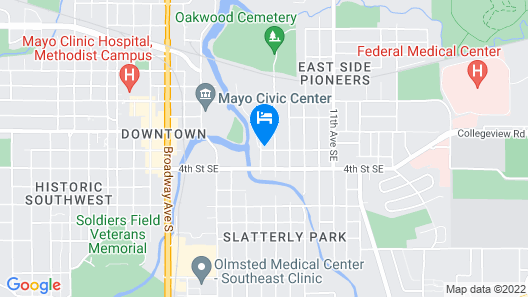 Civic Center, River Front, Walk to Mayo Clinic!! Garage Parking! Map