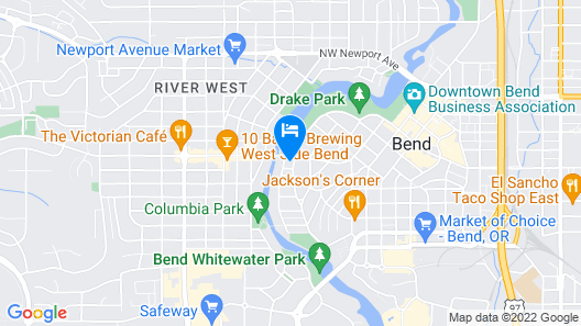 Bluebird Day - Riverside Cottage - Hot Tub, Pet Friendly, Downtown, Drake Park Map