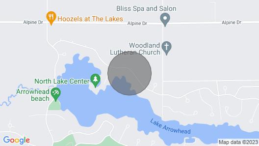 Relaxing Lake House on Lake Arrowhead, Adams County, Wisconsin Map
