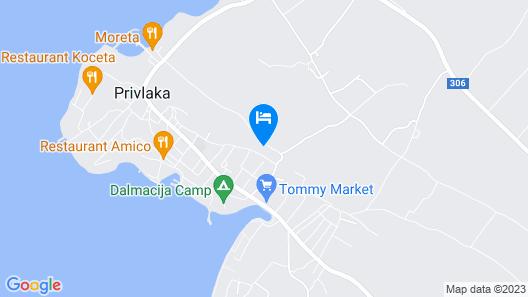 Villa Dragica mit Pool auf Terasse nur 50 m vom Meer in Privlaka, Kroatien Map