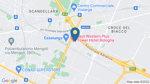 Best Western Plus Tower Hotel Bologna Map