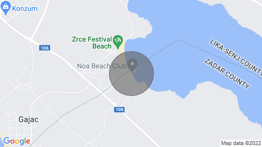 Villa in Zrce, Close to the Beach, Water Sports, Festival, Party, Free Wifi, up to 6 People Map