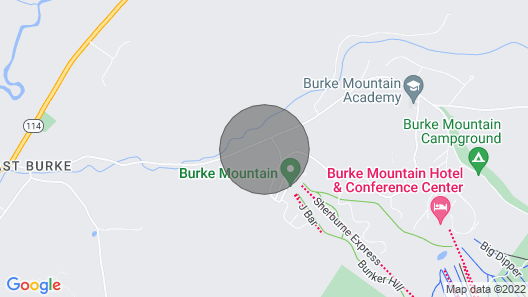 Great Location, new Lower Rates on Access Road to Burke Mountain Ski Area Map