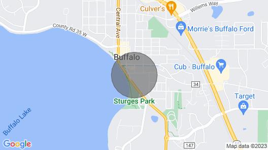 New! Family Home, Walk to Buffalo Lake & Breweries Map