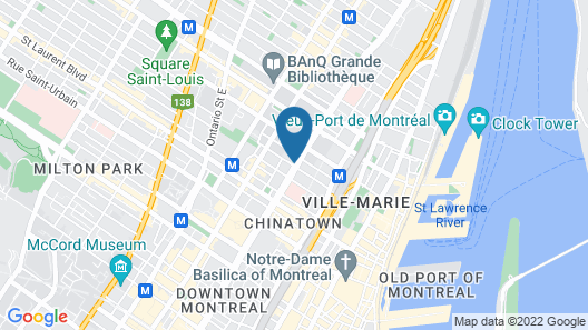 Hotel Chrome Montréal Centre-ville Map