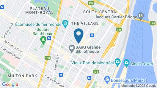 Hotel Arena Palace Montreal Map