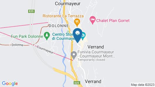 Hotel Les Jumeaux Courmayeur Map