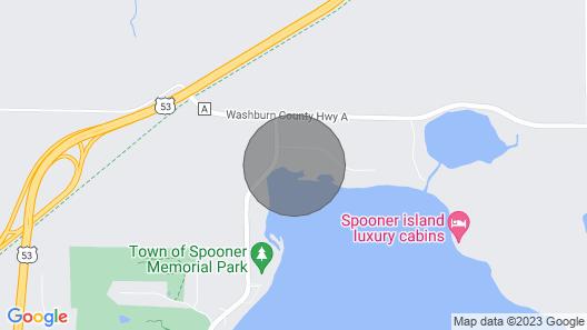 Waterfront Cabin W/deck, Dock on Spooner Lake Map