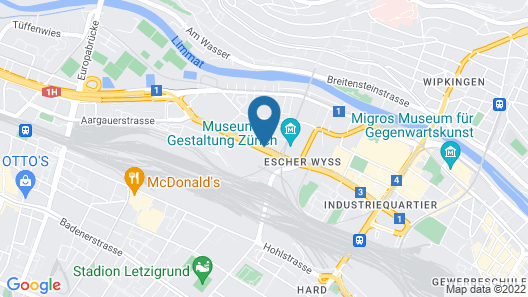 25hours Hotel Zürich West Map