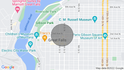 Downtown Secure Apartment at The Historic Great Falls Hotel Map