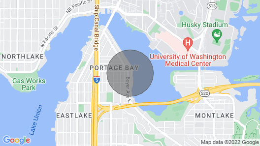 Canalside Water & Mountain View Apartment Near UW, Patio w/ Fire pit and Parking Map