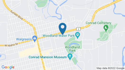 Blue and White Motel Map
