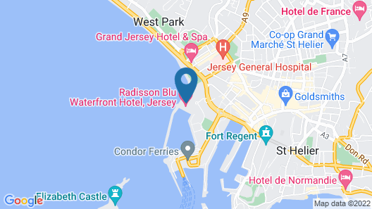 Radisson Blu Waterfront Hotel, Jersey Map