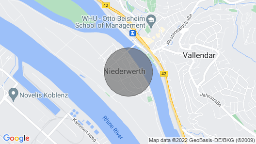 Newly Renovated Apartment on the Island Niederwerth Near Koblenz Map