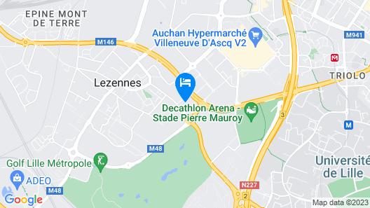 Première Classe Lille-Villeneuve d'Ascq-Stade Pierre Mauroy Map