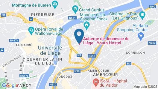 Liège Youth Hostel Map