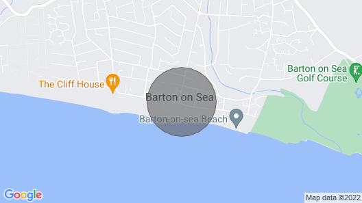 New Forest Barton-on-sea Cliff Top, Ground Floor, Garden Apartment. 'bayside' Map