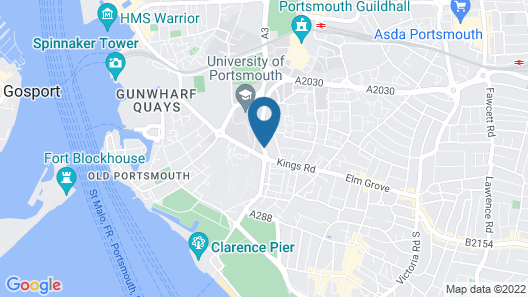 Portsmouth Budget Hotels Map