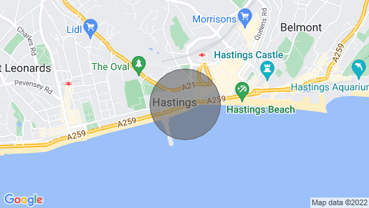 Whiterock Rocks !! Hastings Seafront Apartment! Map