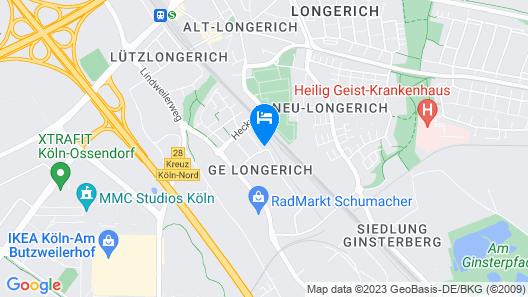 A57 Gästehaus 10 min to Köln Map