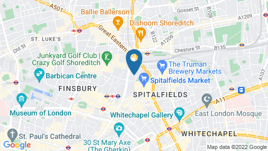 Point A Hotel London Liverpool Street Map